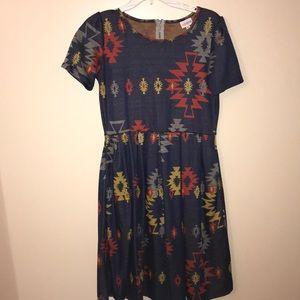 LulaRoe Aztec print Amelia dress, size large